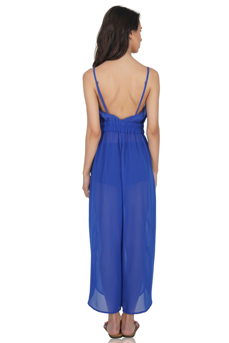 Sexy Sheer Bright Blue Jumpsuit