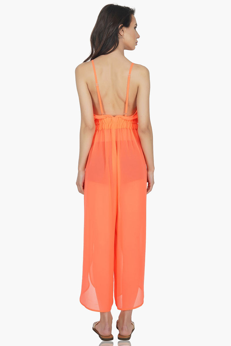Sexy Sheer Neon Orange Jumpsuit