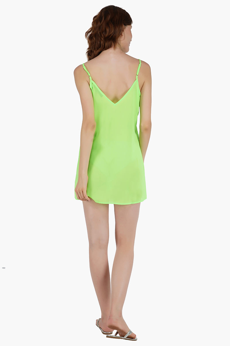 Sexy Sheer Neon Green Mini Dress