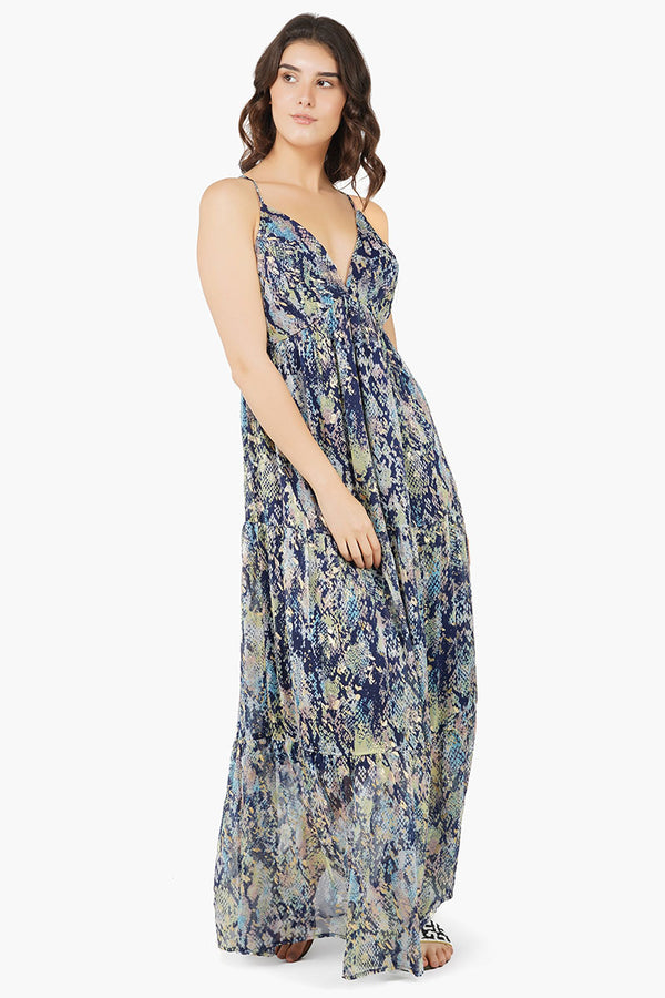 Shimmering Snakeskin Maxi Dress