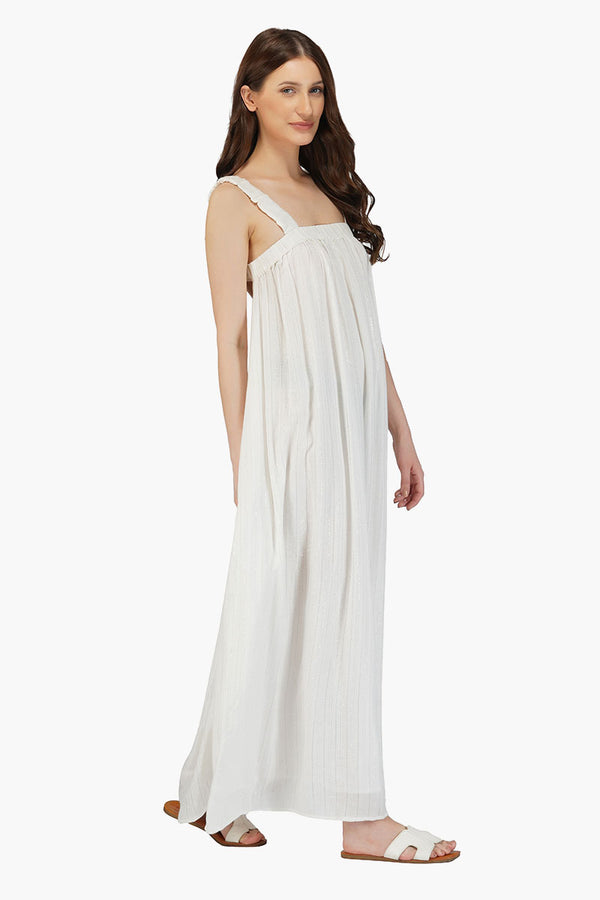 Sweet Summer Silver Stripe Maxi Dress