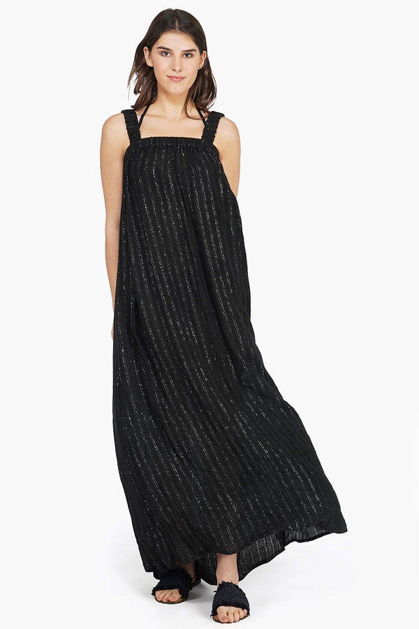 Summer Nights Silver Stripe Maxi Dress