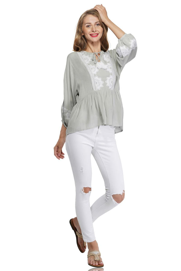 Gray Dawn Embroidered Blouse