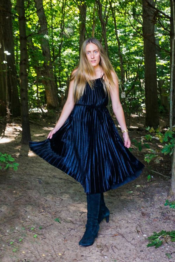 Moonless Night Pleated Velvet Dress