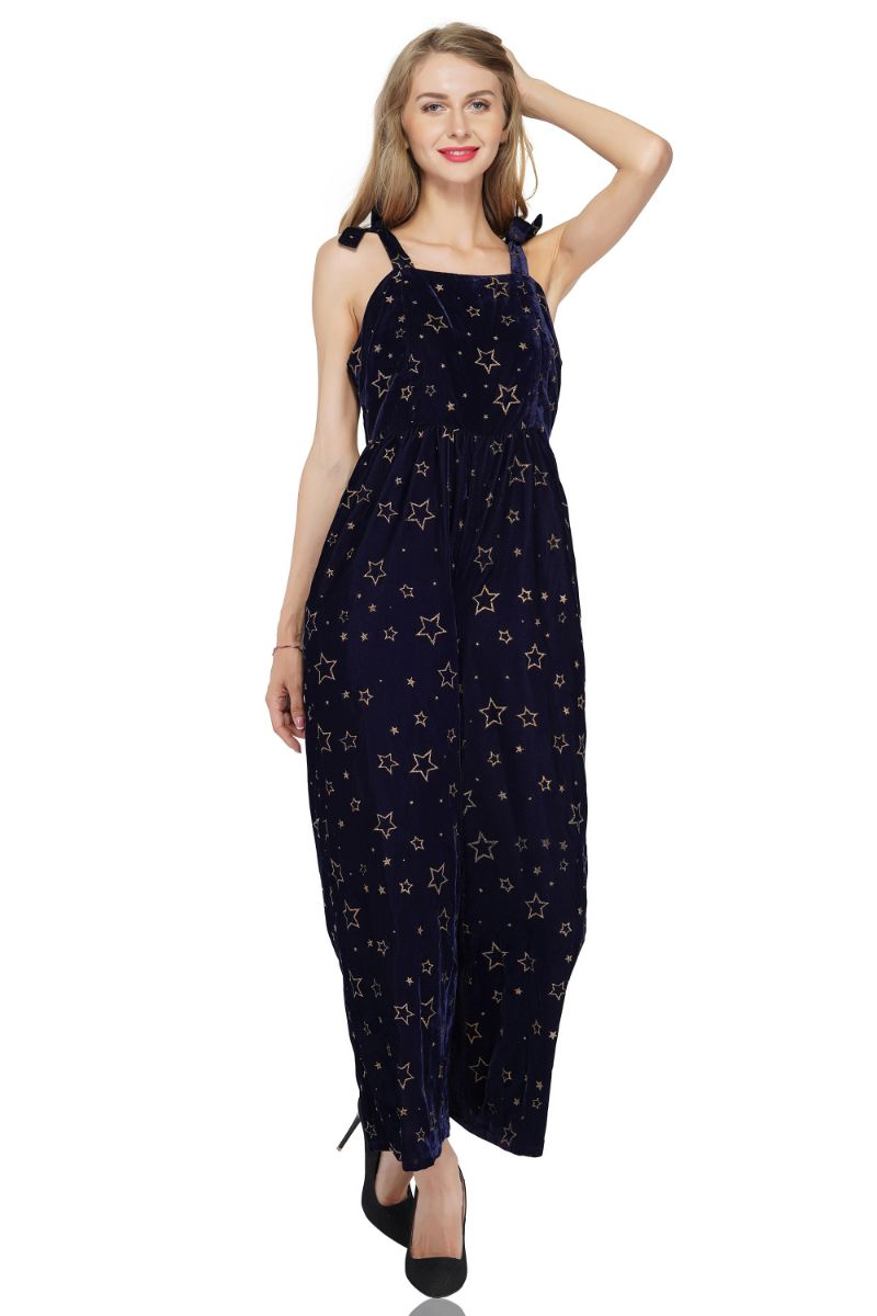 Starry Night Velvet Jumpsuit