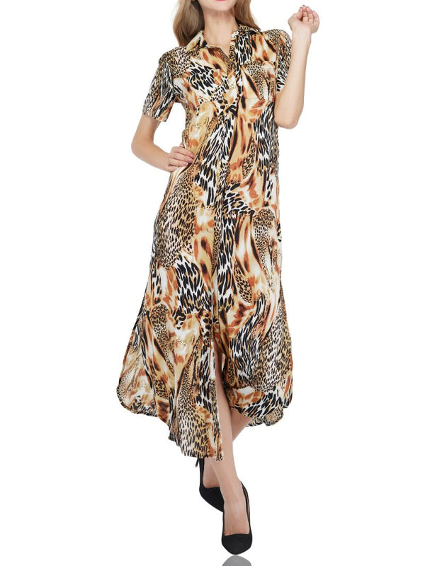 Golden Ochre Animal Print Shirt Dress