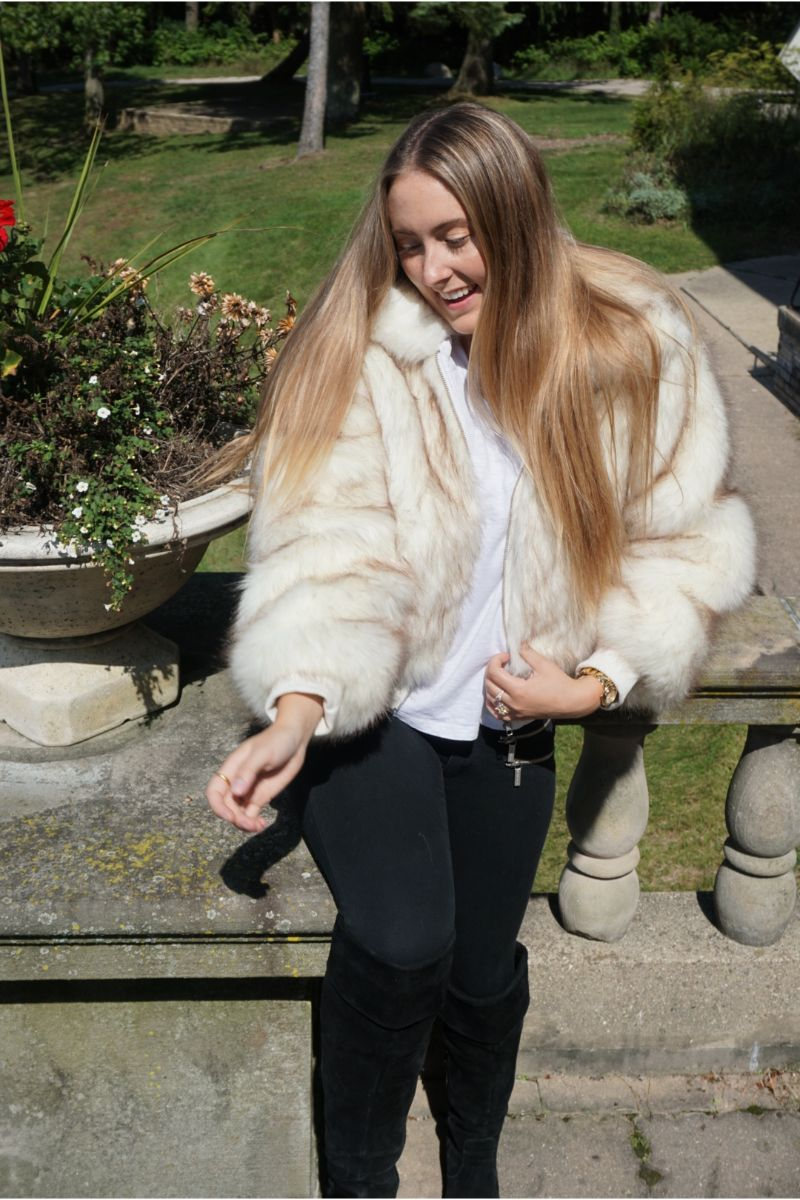 Snow White Faux Fur Bomber Jacket