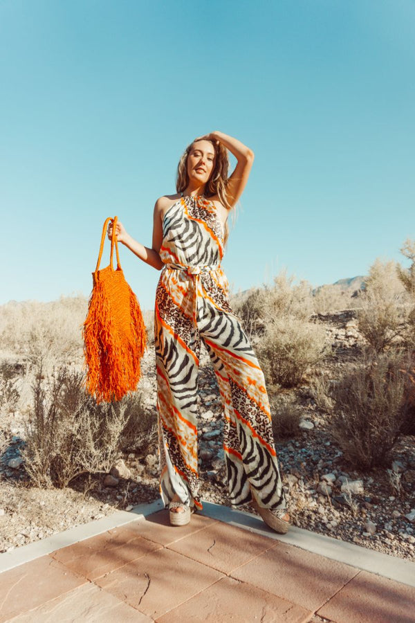 Absinthe Animal Print Jumpsuit
