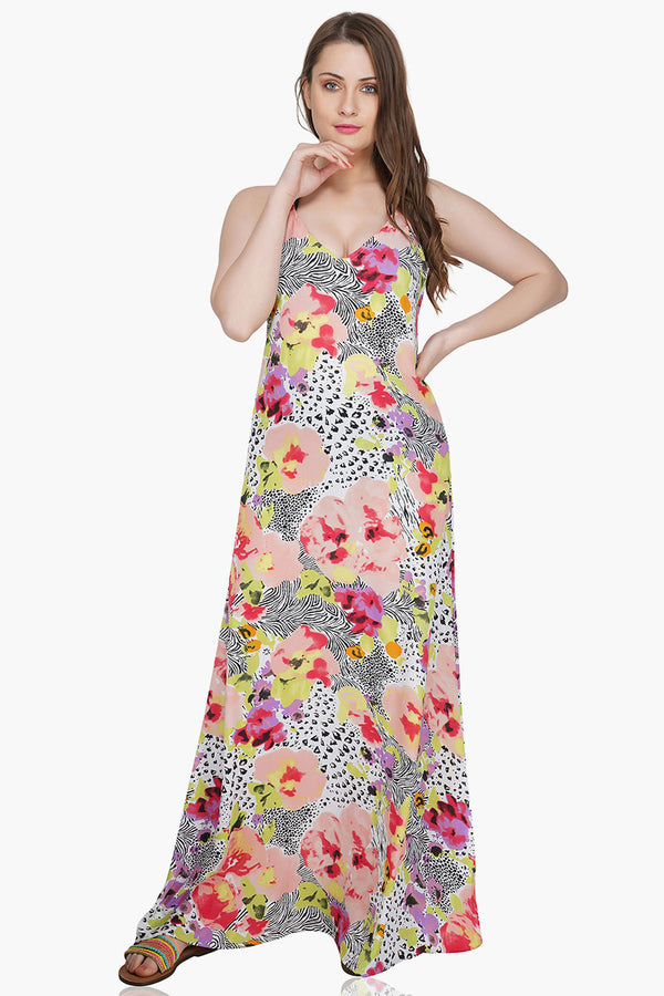 Azalea Floral Dotted Maxi Dress