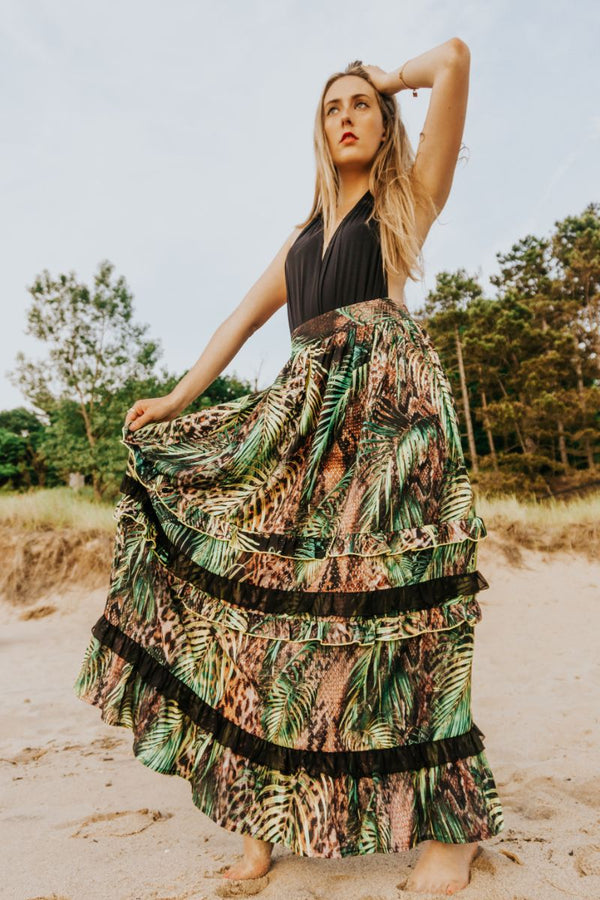 Jungle Dreams Layered Maxi Skirt | Printed Maxi Outfit