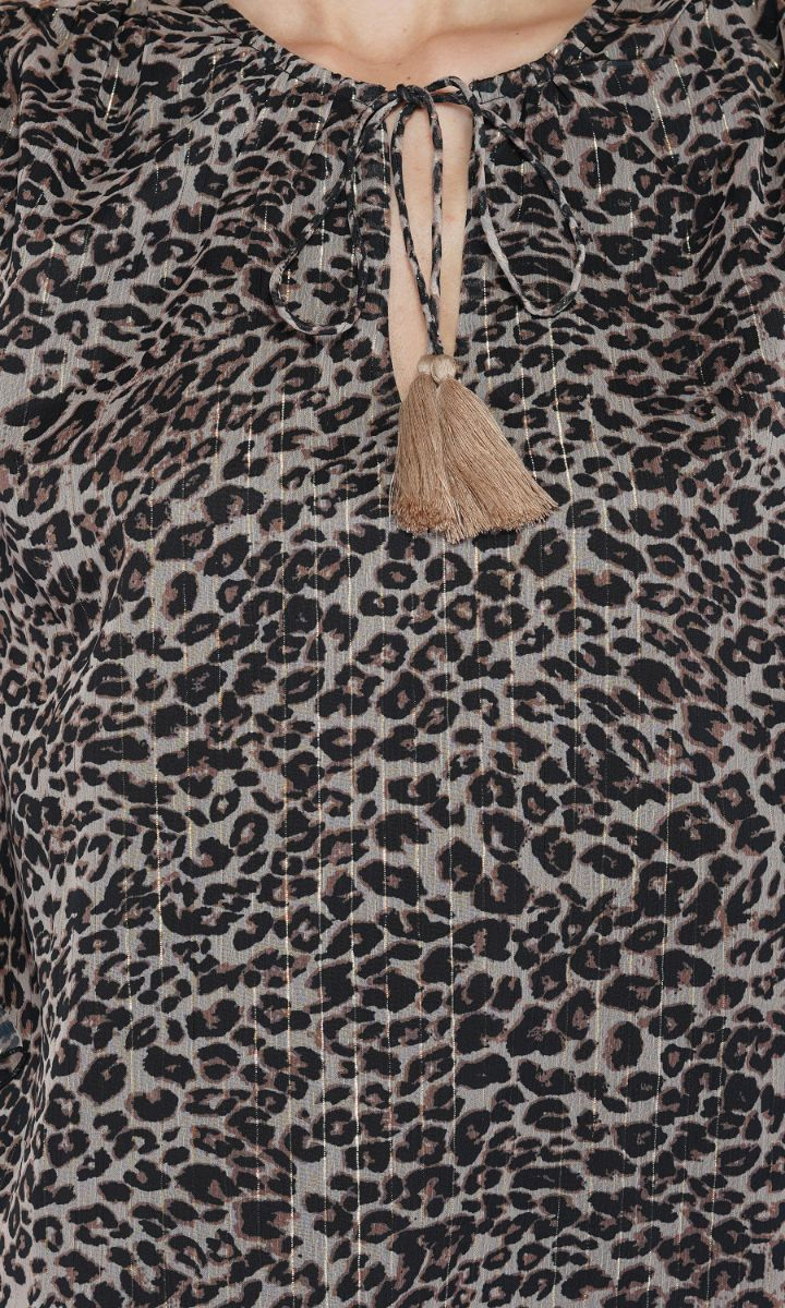 Leopard Ruffle Blouse | Bohemian Tops for Ladies