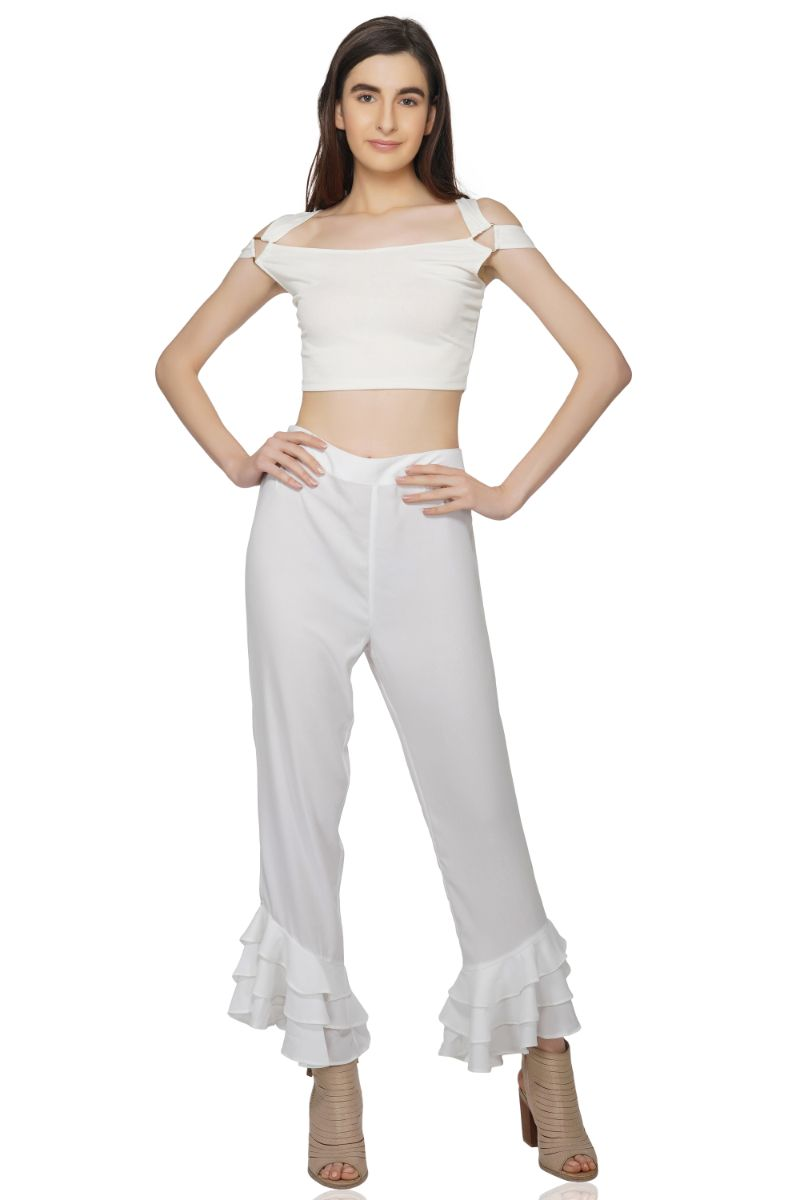 White Ruffle Lounge Pants