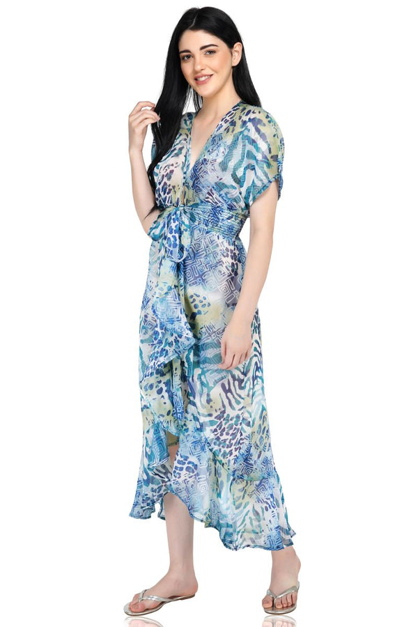 Parisian Blue Abstract Print Kimono | Boho Style Maxi
