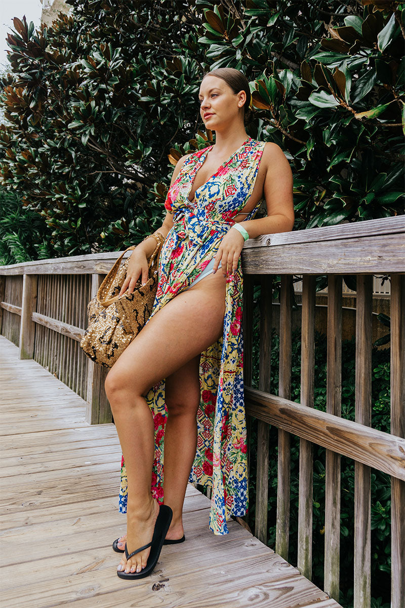 Blazing Yellow Floral Maxi Dress