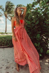 Red Cheveron Maxi Dress | Boho Vacation Dresses