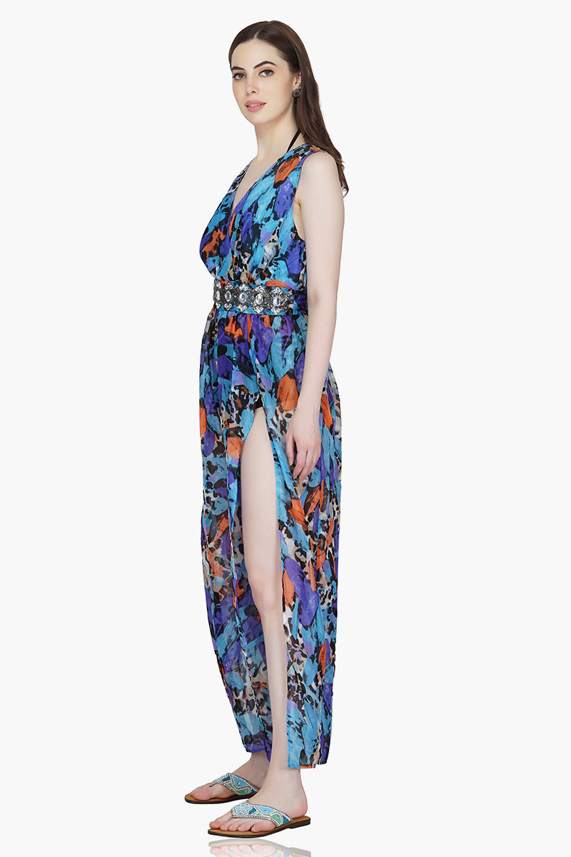 Riviera Animal Print Embellished Jumpsuit