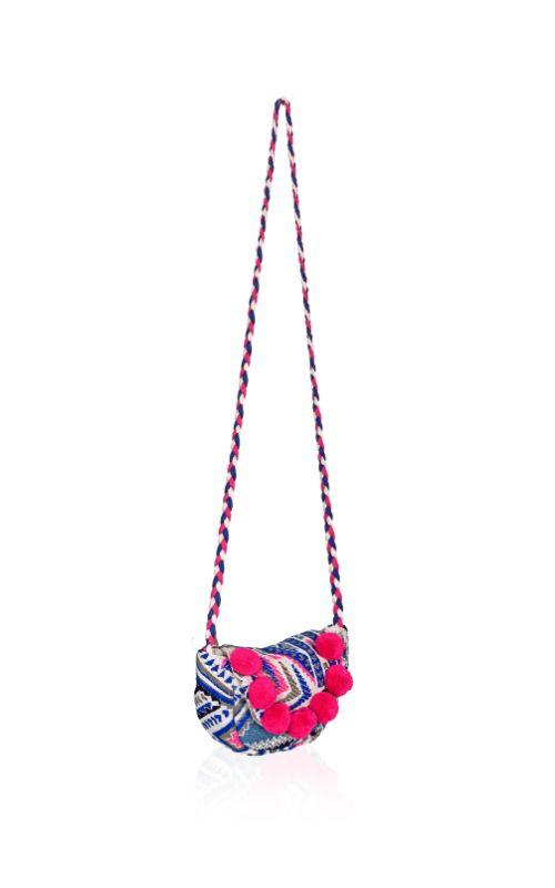 Pom Pom Flap Cross Body Bag