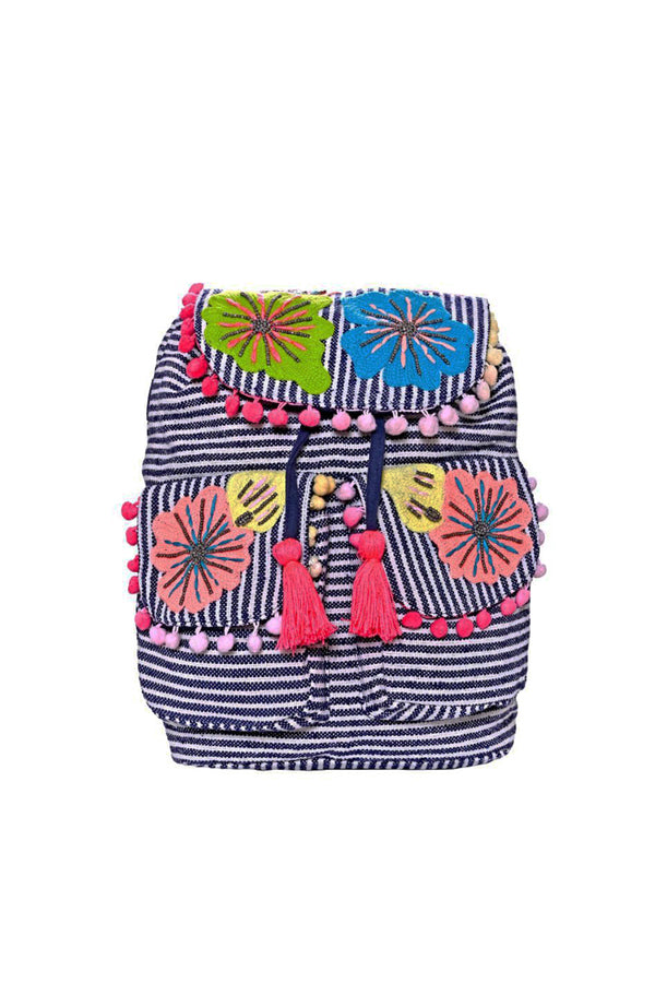 Fanciful Floral Stripe Embroidered Bag pack