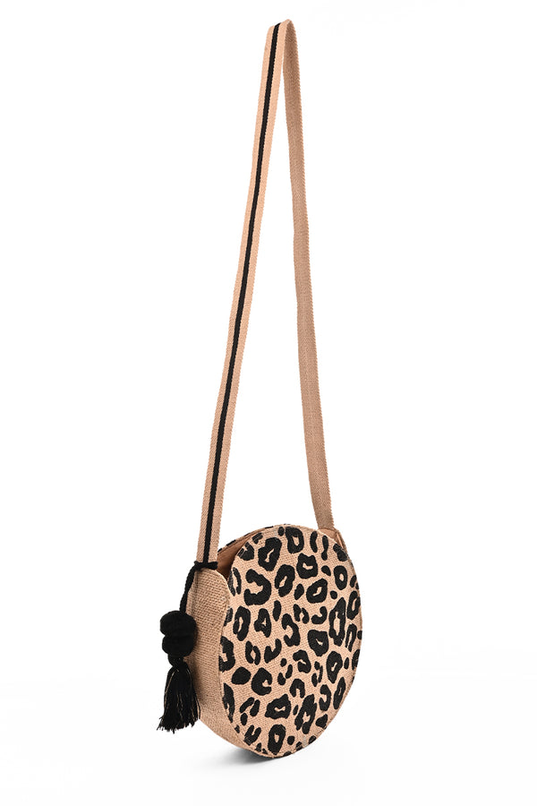 Leopard Handwoven Jute Crossbody Bag