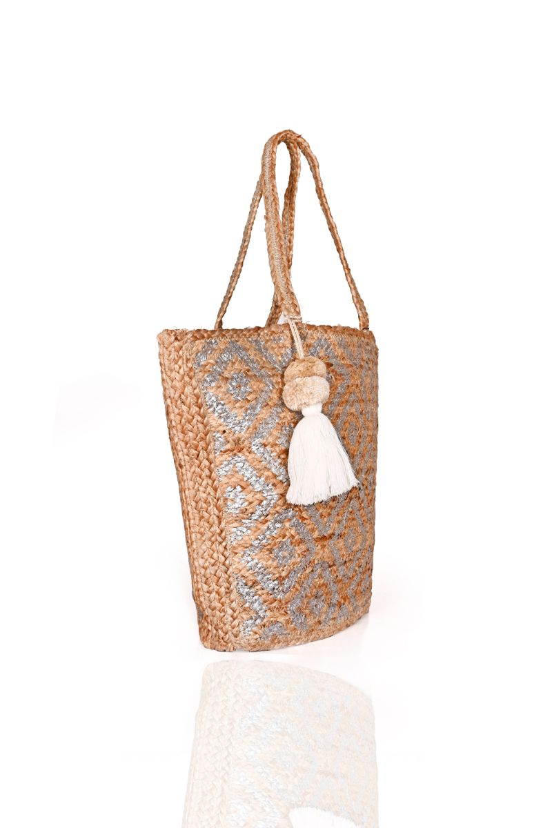 Silver Tribal Hand Stamped Jute Tote