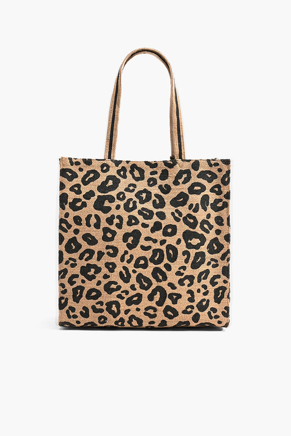 Leopard Jute Brown Tote with Tassel