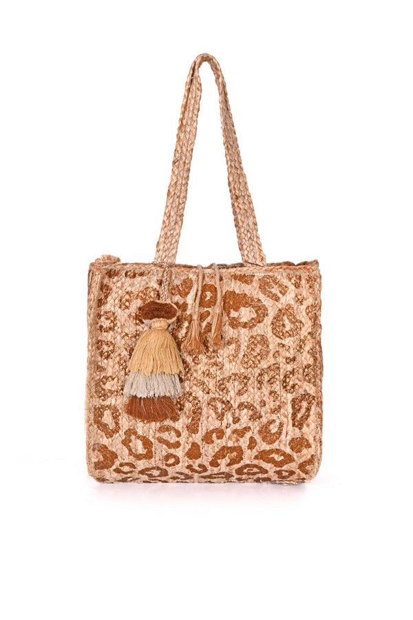 Gold Handwoven Leopard Jute Tote with Tassel