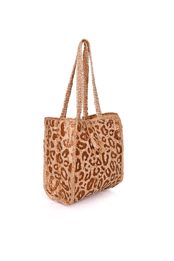 Antique Gold Leopard Jute Hand Bag