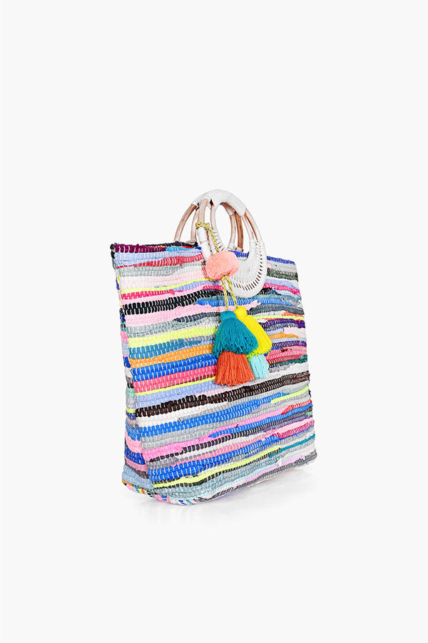 Rainbow Handwoven Tote with Tassel