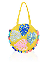 Palm Leaves Jute Round Tote | Boho Beach Bags