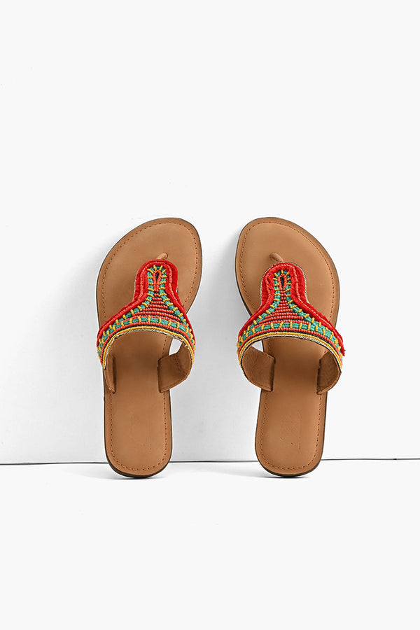 Indian-Tribal Fusion Beaded Slider Sandals