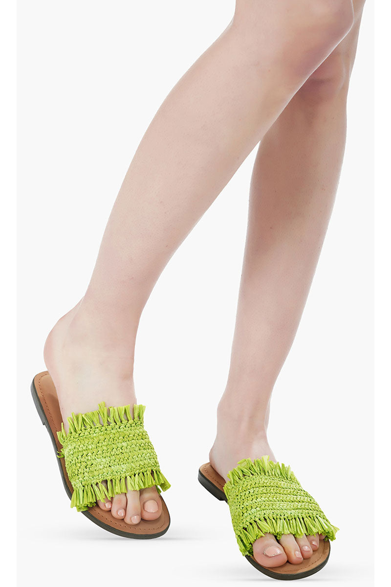 Neon Green Raffia Slide Sandals