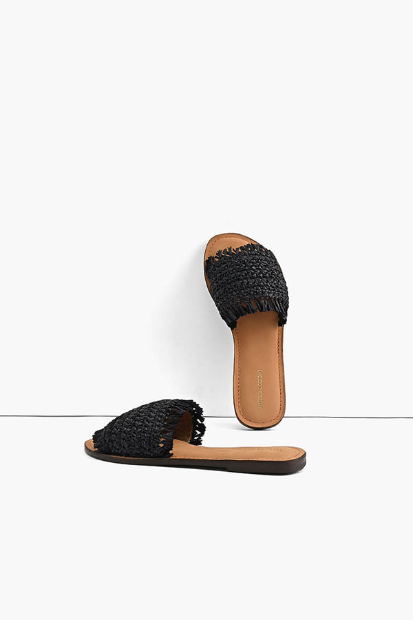 Boho Bliss Black Raffia Slide Sandals