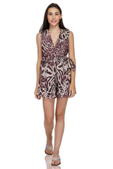 Rose Tan Animal print Romper