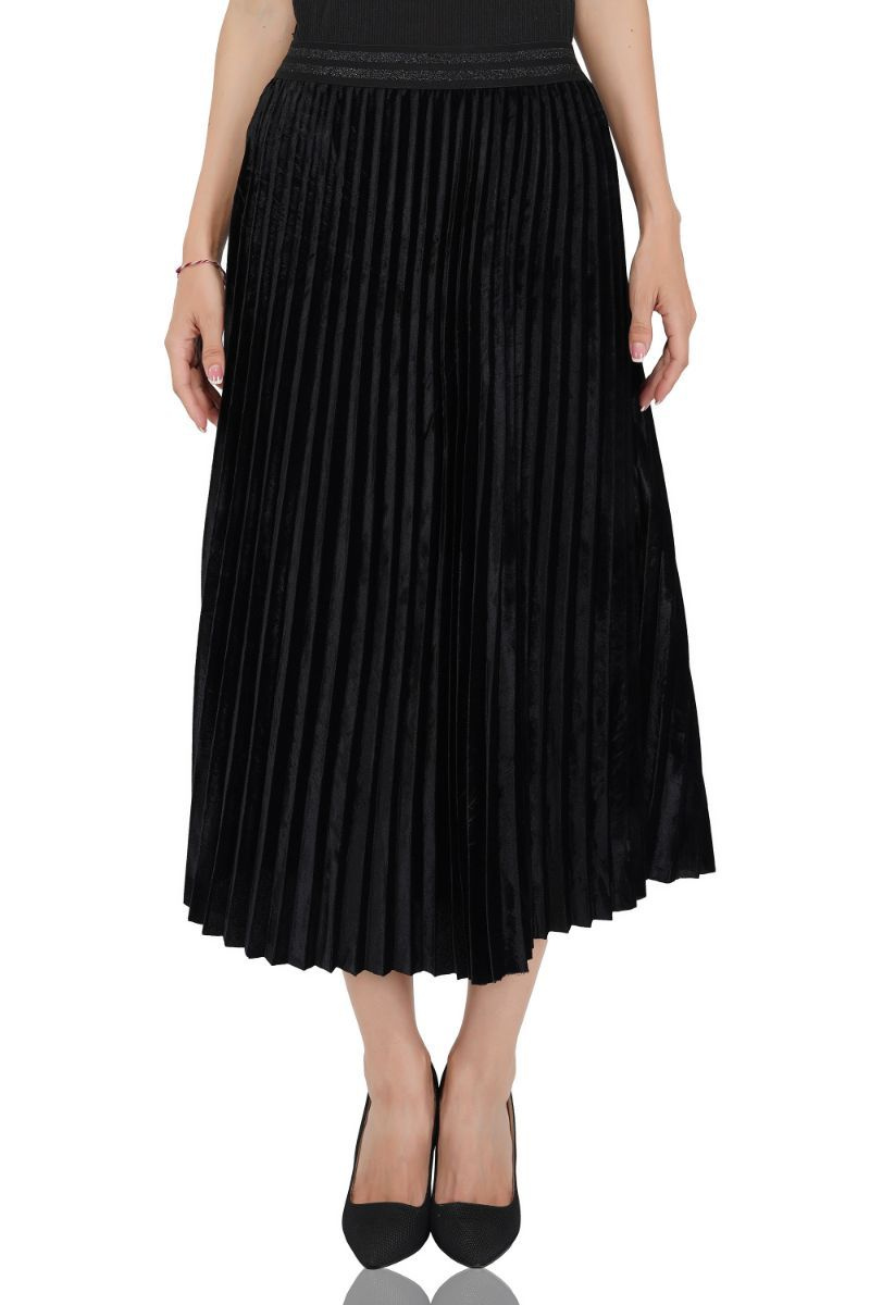 Moonless Night Pleated Velvet Skirt