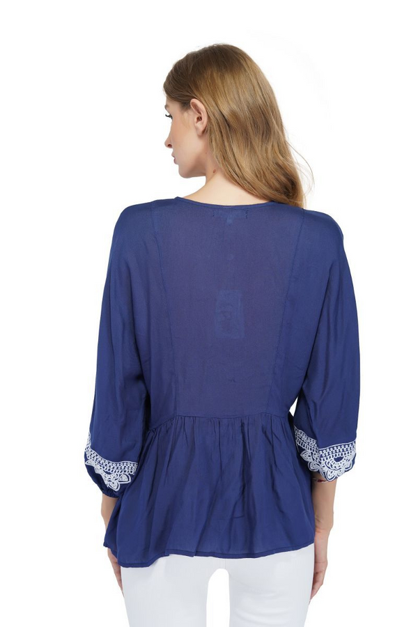 Gray Dawn Embroidered Blouse-Navy