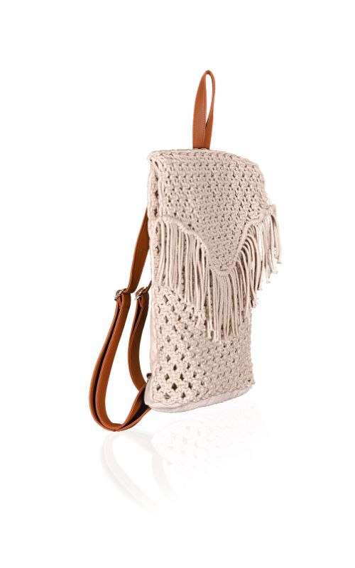 Angora Handwoven Macrame Backpack With Fringes
