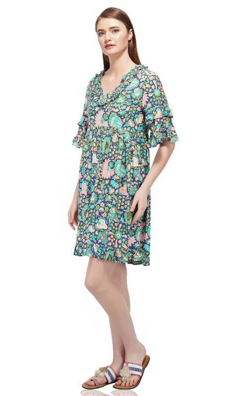 Blue Depth Floral Printed Dress