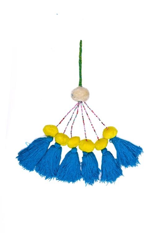 Turquoise & Yellow Pompom Tassels