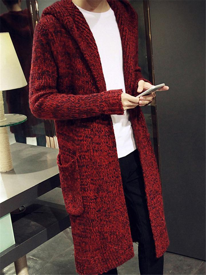 Men's Casual Horn Button Hooded Long Cardigan