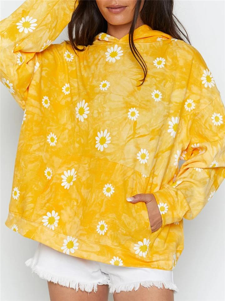 Tie-Dye Daisy Floral Print Pullover Hoodie