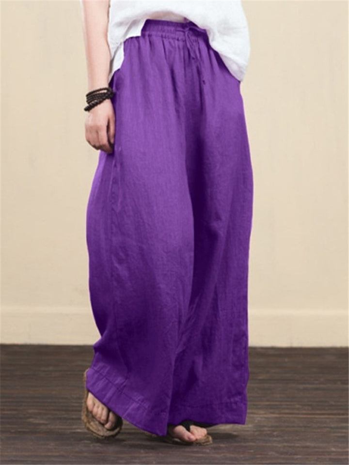 Woman Wide Leg Solid Color Loose Casual Pants