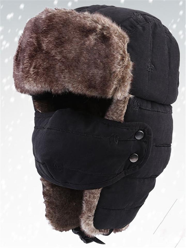 Winter Outdoor Warm Fur Earmuffs Hat With Mask