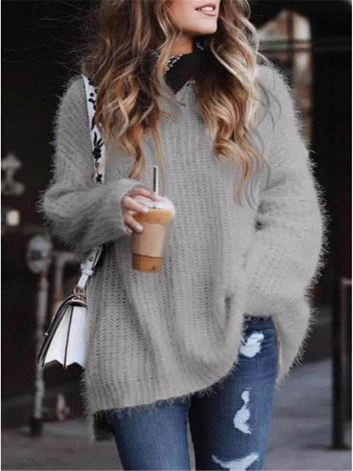 Oversized Round Neck Solid Color Pullover Knit Sweaters