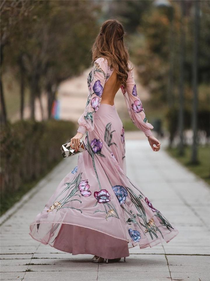 Pink Romantic Sprawling Flowers Printed Backless Chiffon Maxi Dress For Evening Party