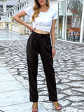 Women Solid Color High Waist Slim Tailored Trousers