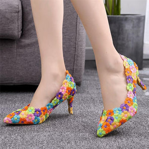 Colorful Lace Flowers Pattern Slip-on Heels Shoes