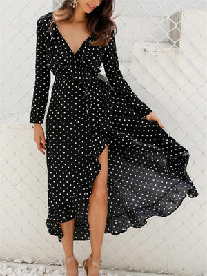 Stylish Polka Dot Long Sleeve Waist Tie Wrap Maxi Dress