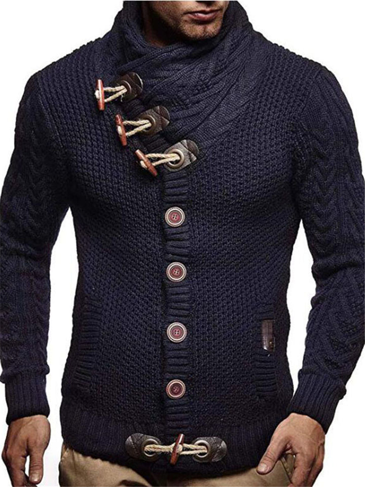 Men's Fashion Knitted Long Sleeve Turtleneck Cardigan
