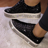 Women's Cute Shinning Crystal Flat Heel Shoes