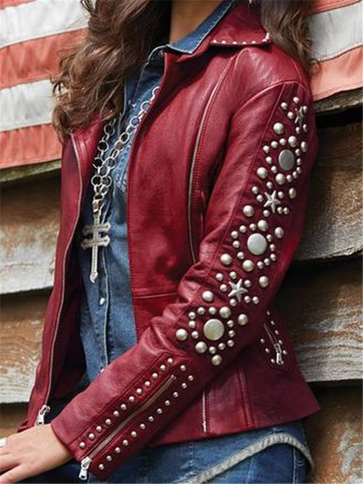 Stylish Solid Color Zipper Rivet Turn-Down Collar Jacket For Women